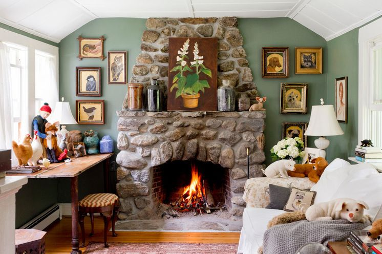 Cozy Farmhouse Living Room With Stone Fireplace