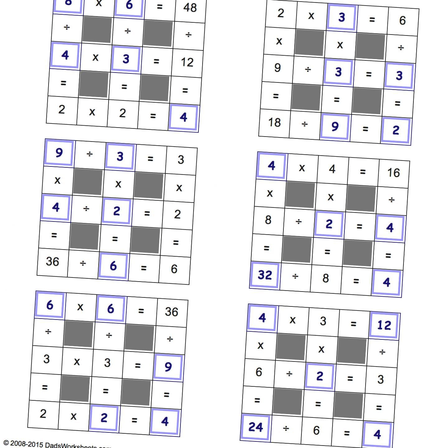 Grid Puzzles Multiplication And Division With Missing