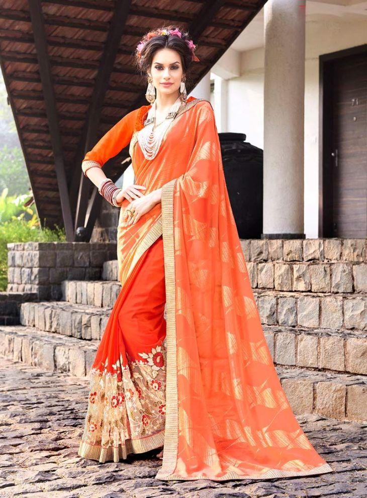 Orange Georgette Party Wear Saree   party wear saree