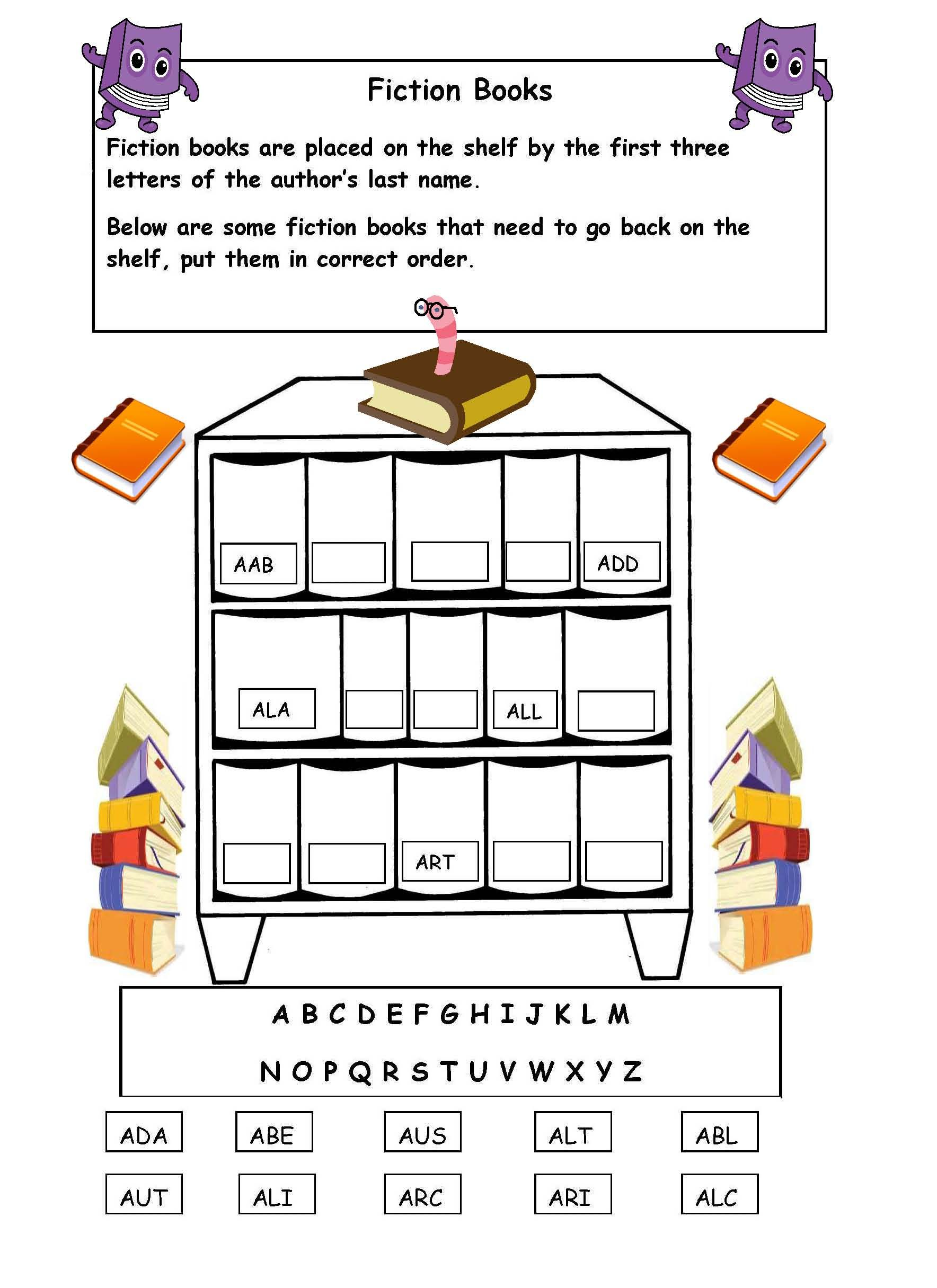 Printable Library Skills Worksheet