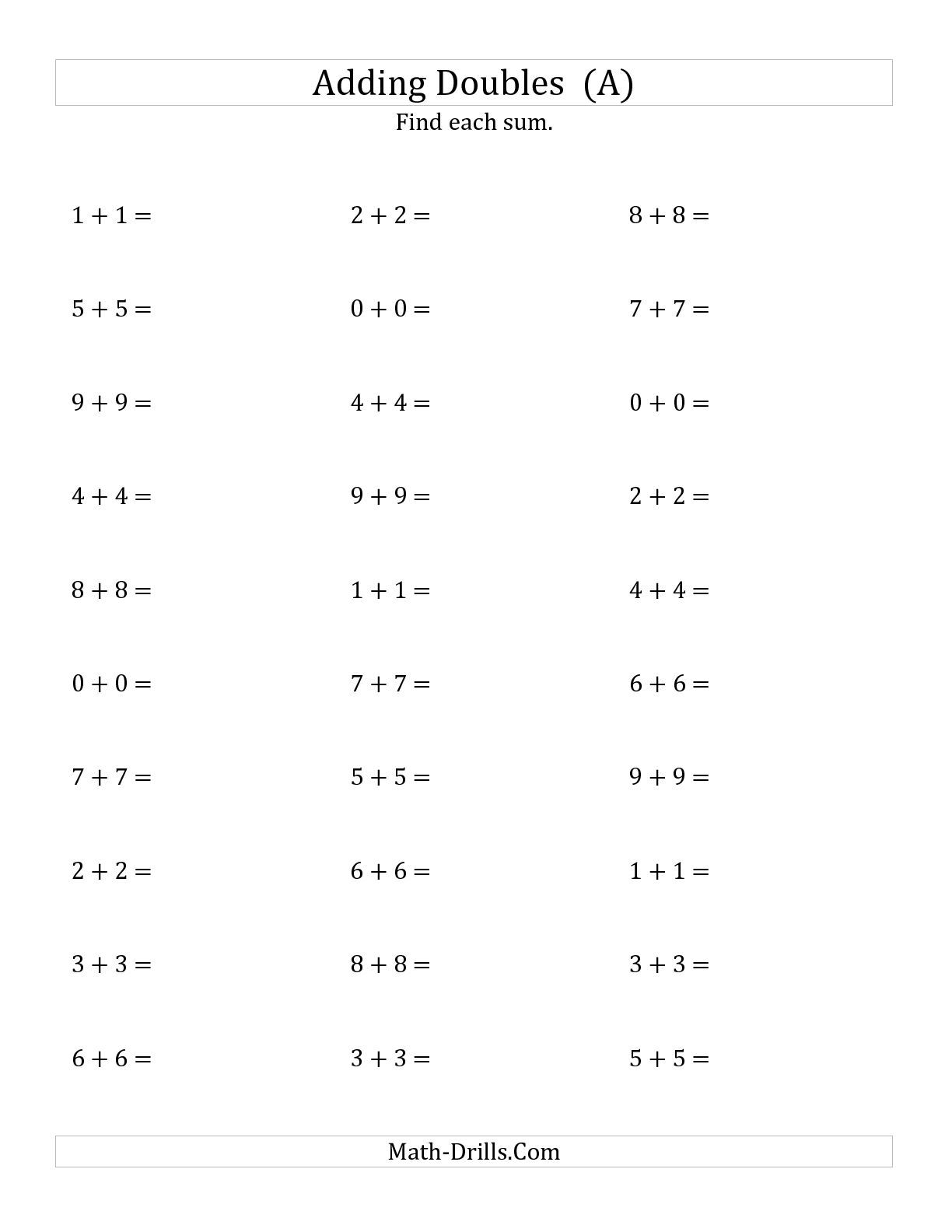 The Adding Doubles Small Numbers A Math Worksheet From The Addition Worksheet Page At Math