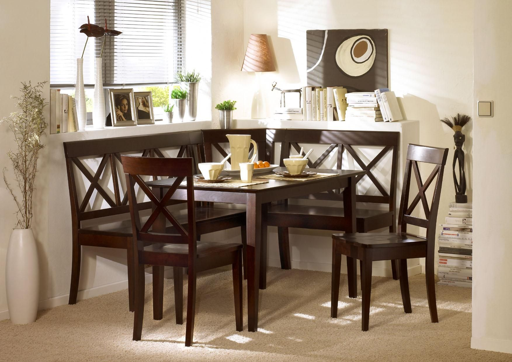 Espresso Corner Bench Dining Set Booth Table Chairs