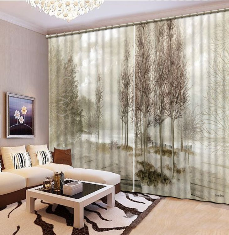 NoEnNameNull D Printing Curtains Room Decorations Blackout