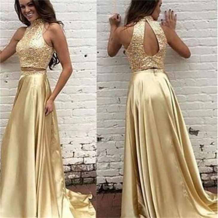 New Arrival Gold Two Pieces High Neck Pretty Sparkly Evening Party
