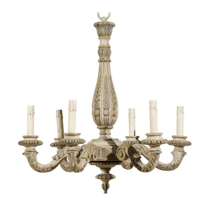 French Vintage Six Light Carved Wood Chandelier