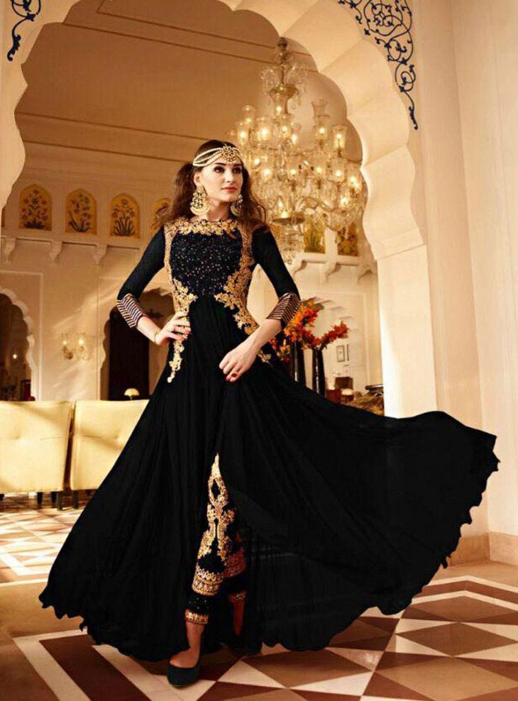 f58b6b1dc1 Designer dresses gown style black georgette designer anarkali suit ...