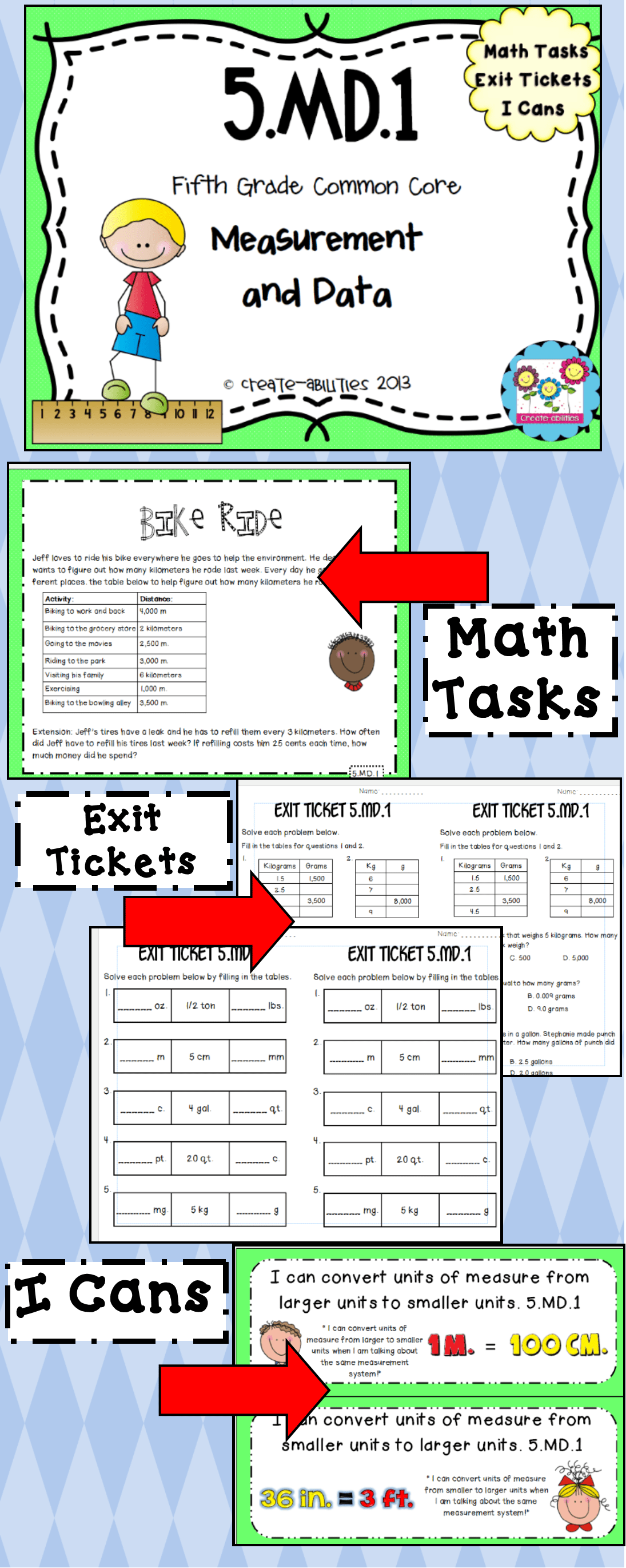 5 Md 1 Converting Units Of Measure Math Tasks Exit