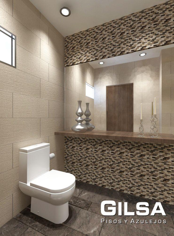 Cuarto De Bao De Estilo Contemporneo Materiales Utilizados En Muro Malla Bodrum 30x30 De