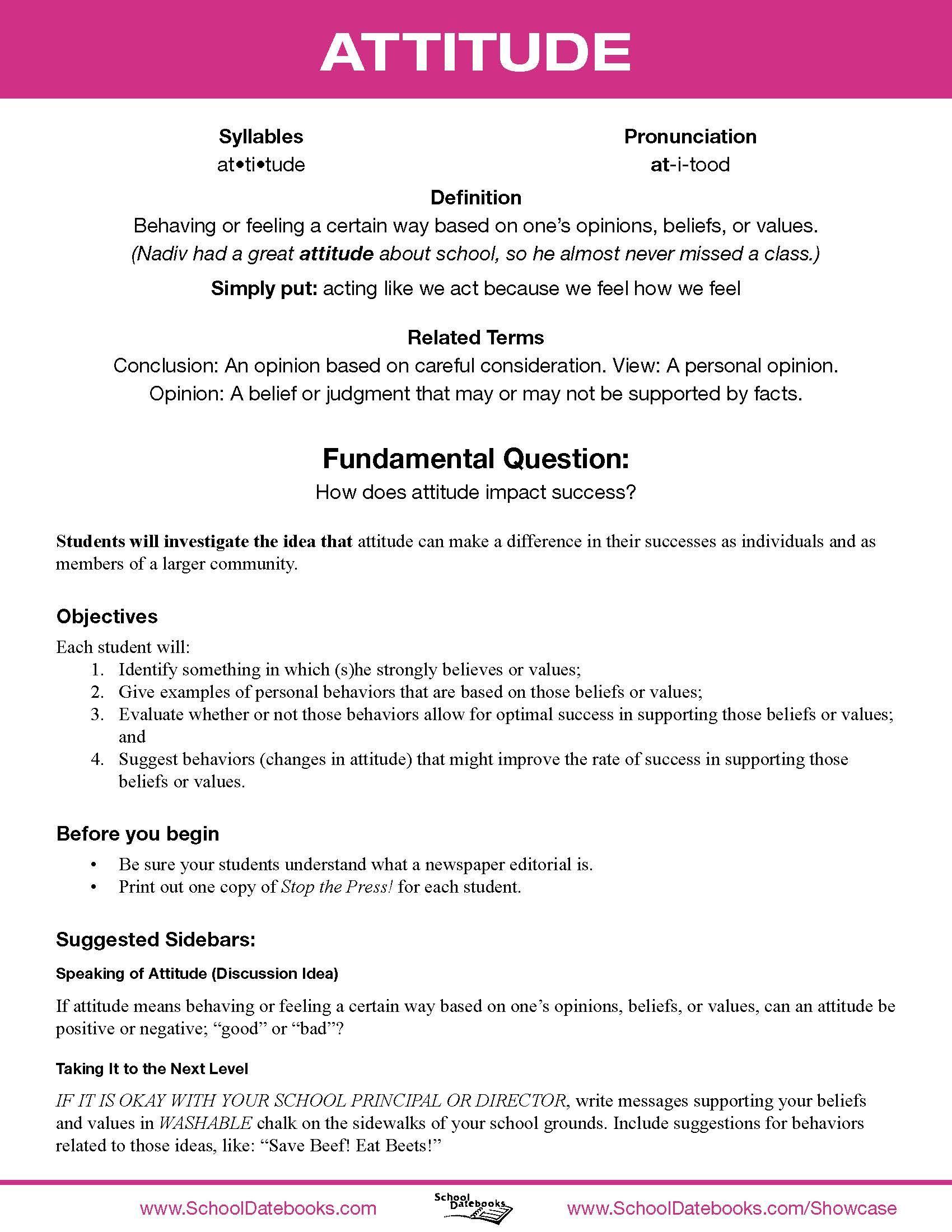 School Datebooks Character Education Lesson Plan Attitude
