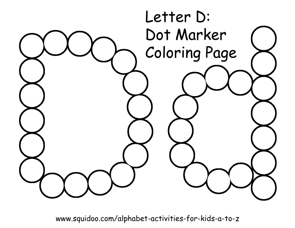 Letter D Dot Marker Coloring Page 1