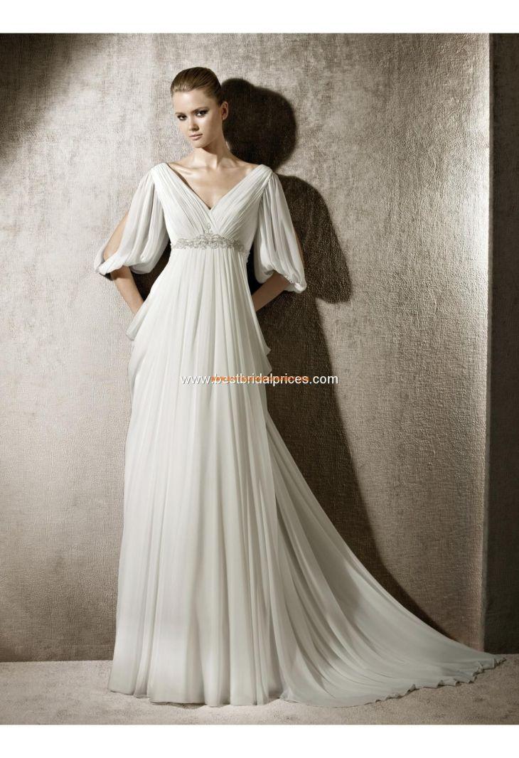 Robe de mariée avec manches mousseline  Robe de mariée   Pinterest