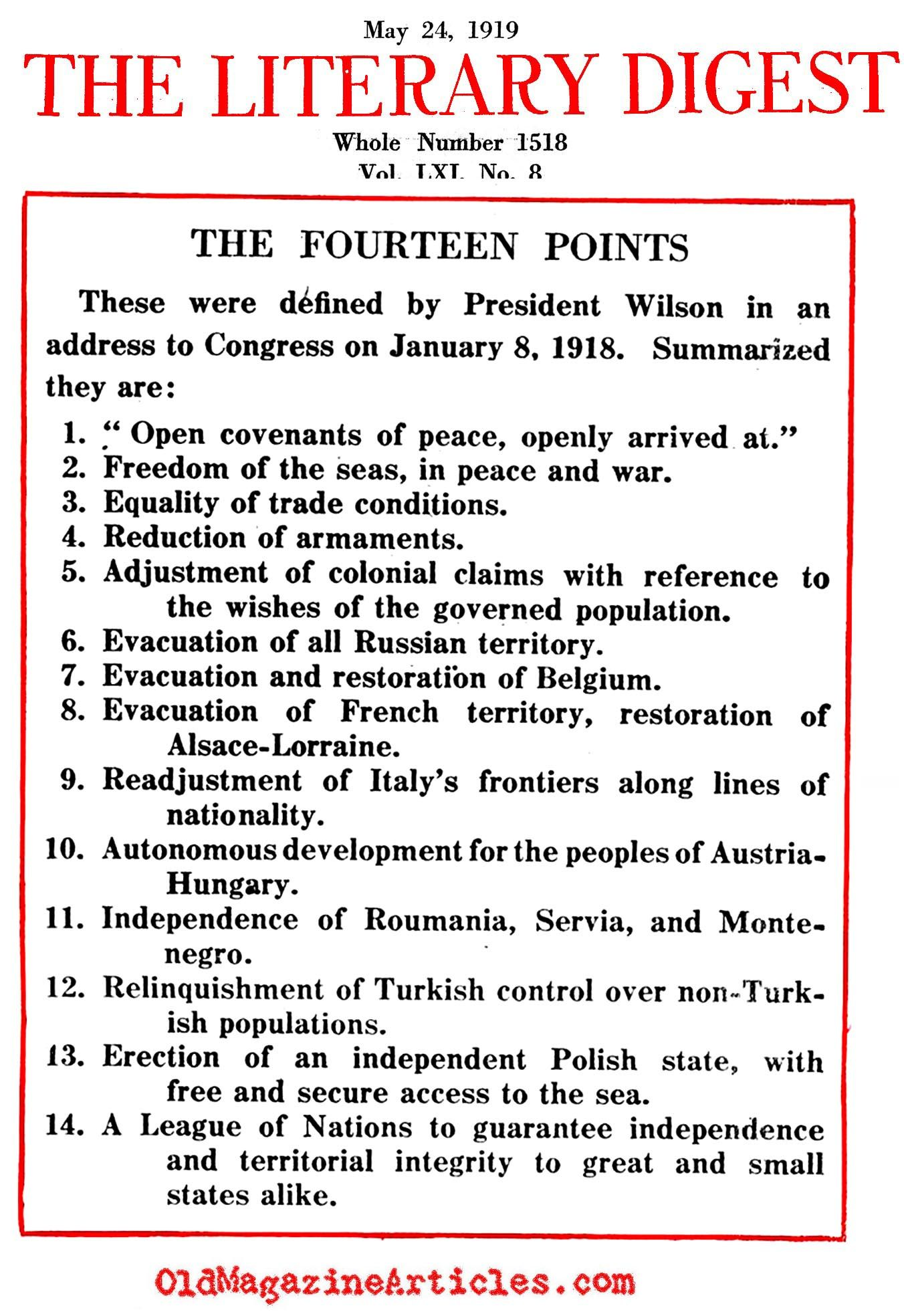 Picture 16 President Wilson Outlines His Fourteen Points