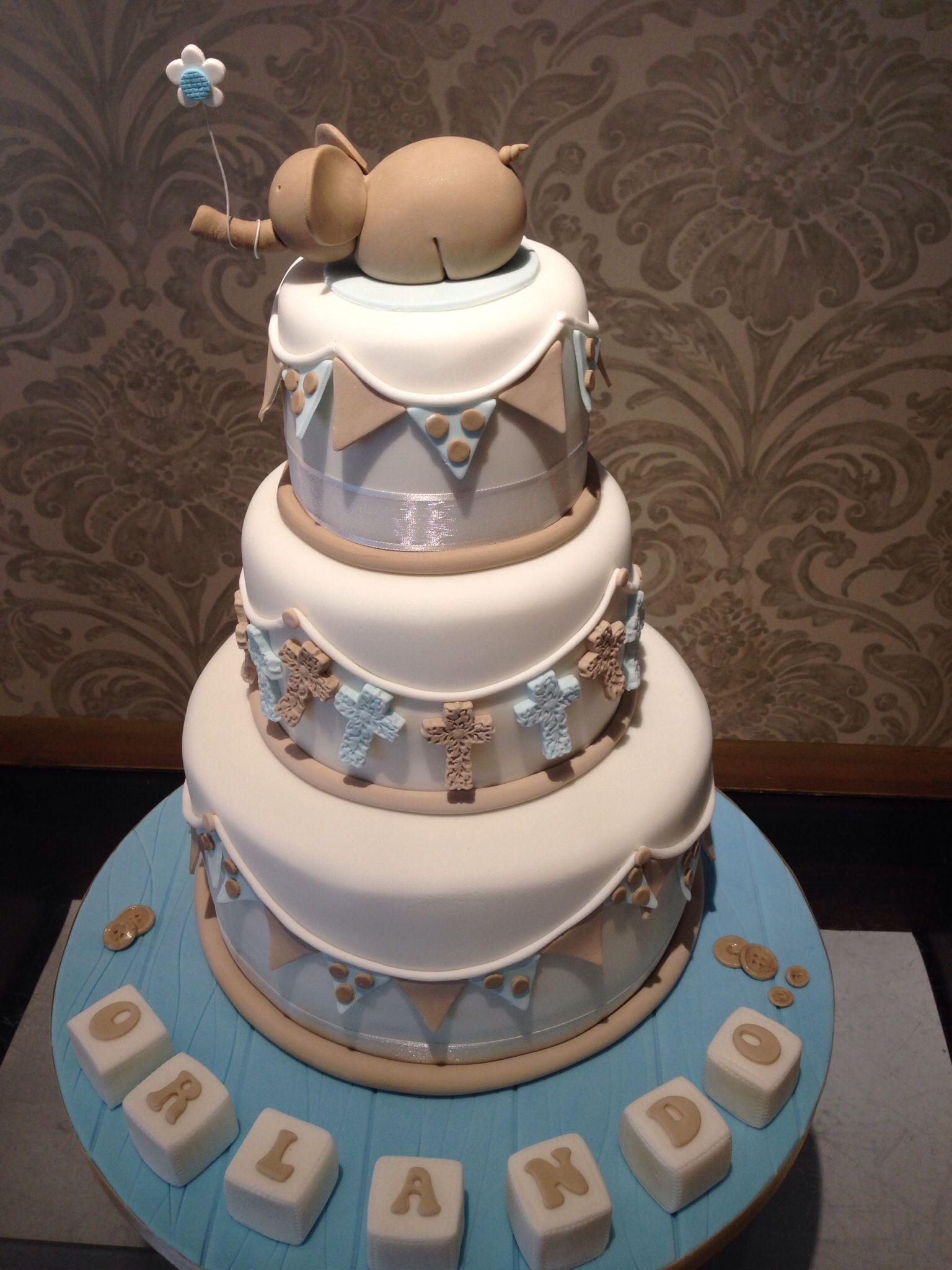 Beautiful Baby Boy Christening Cake