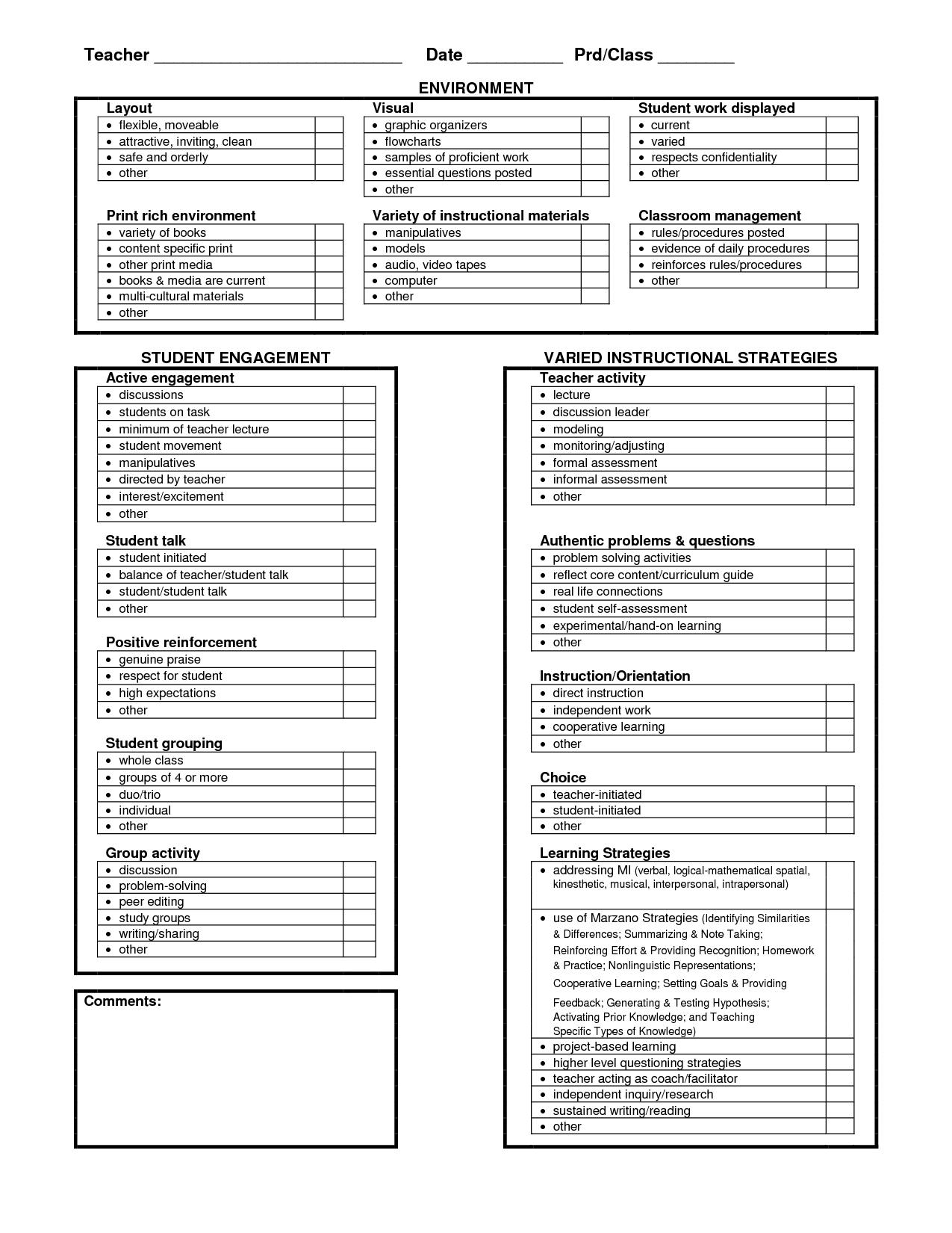 Behavior Observation Checklist Forms