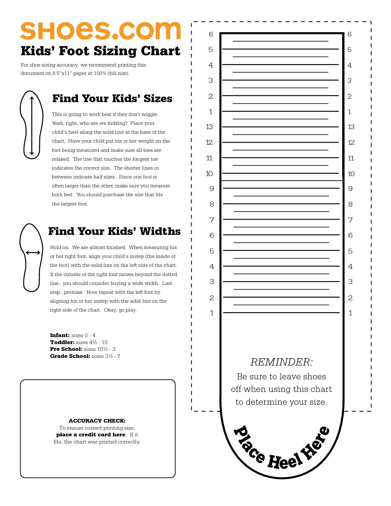 Printable Sock Measurement Chart