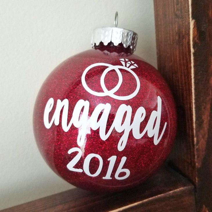 Engaged Glitter Christmas Ornament Glitter ornaments Christmas