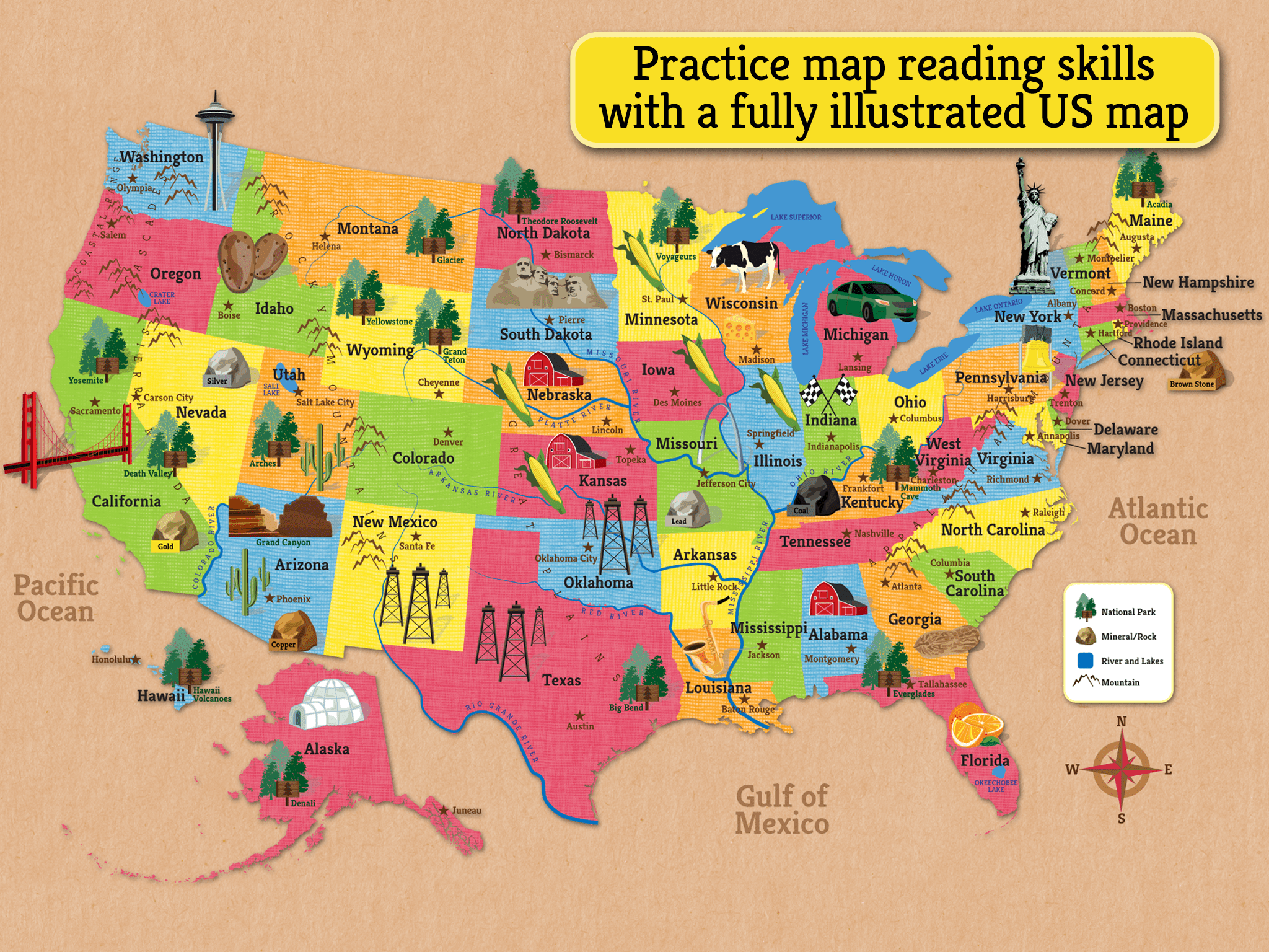 Illustrated Map Of The Us Can Be Used As A Reference In