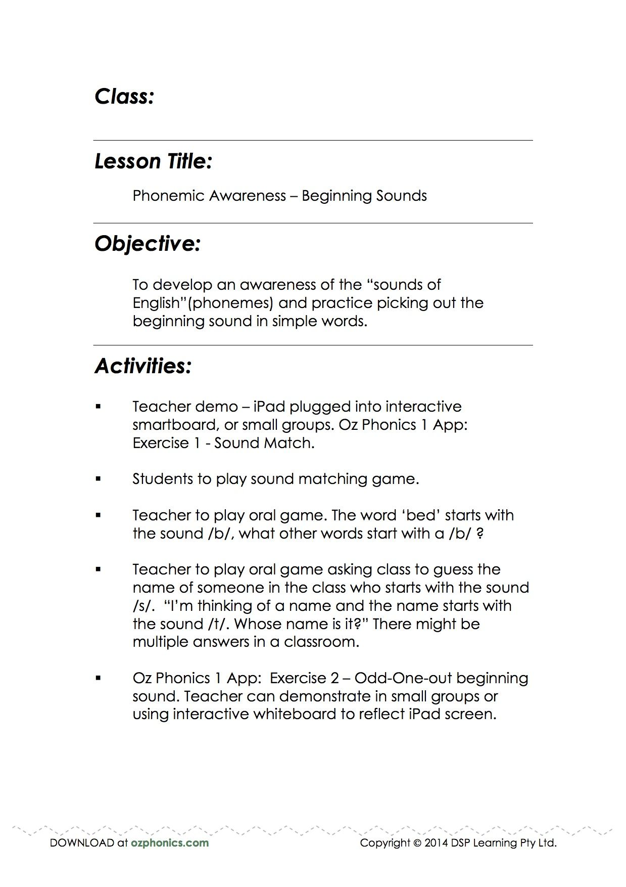 Lesson Plans Phonemic Awareness