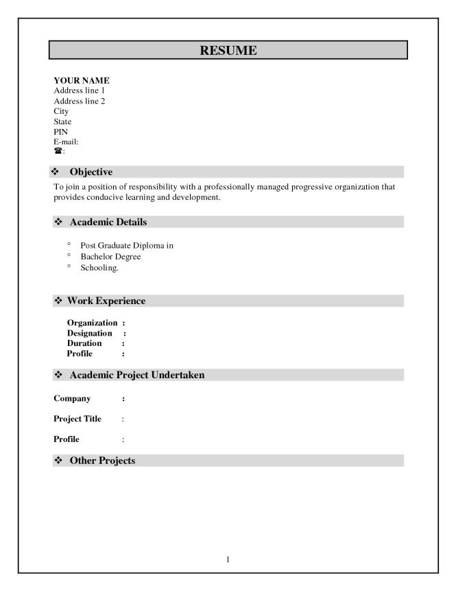 resume format for doctors freshers pdf samples free biodata - Simple Resume Format Doc