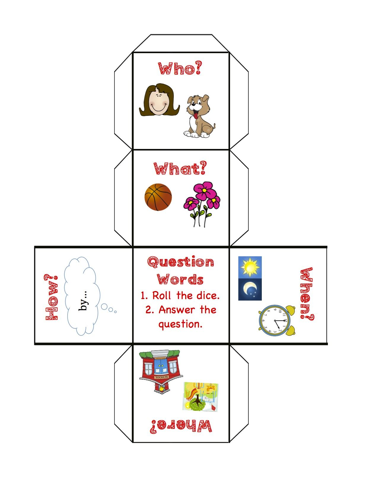 Question Words Cut And Create A Question Word Dice