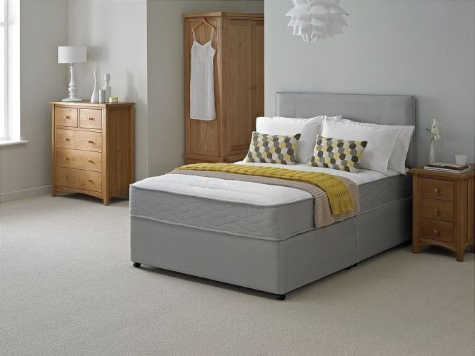 New Grey Quilted Memory Divan Bed Sprung Foam Mattress 3ft 4ft 4ft6 5ft
