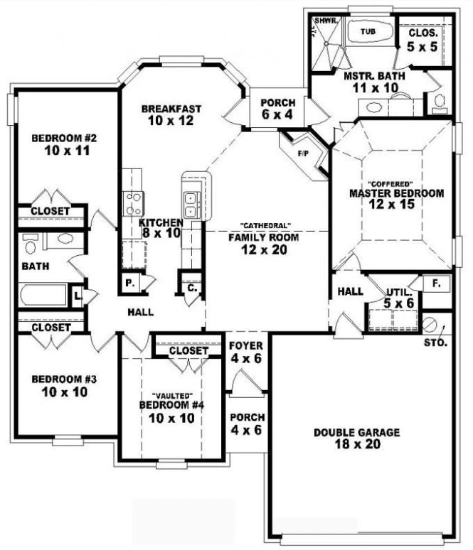 One Story 4 Bedroom 2 Bath Traditional Style House Plan Plans