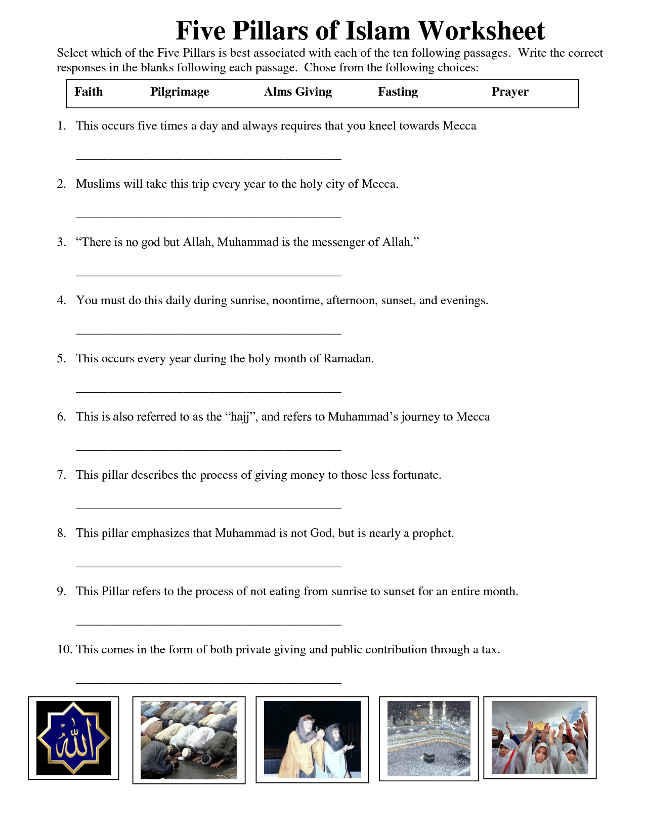 Five Pillars Of Islam W S