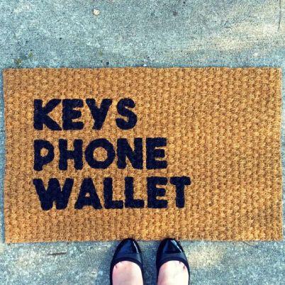 Image result for keys wallet phone doormat