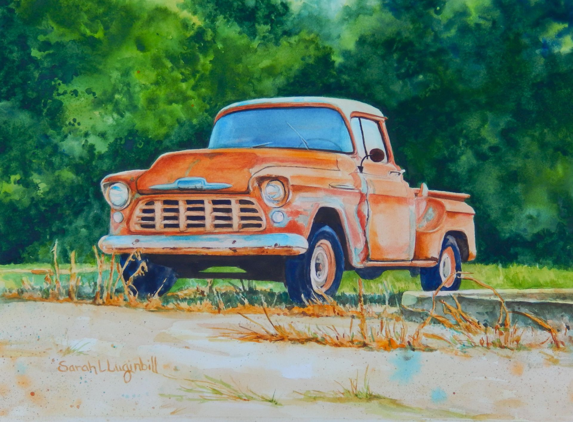 This watercolor painting of an old Chevy truck titled ...