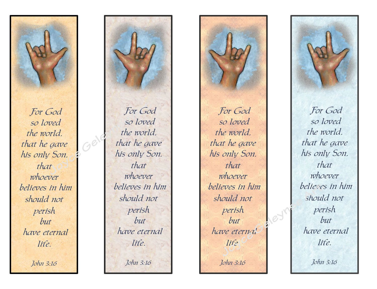 Instant Printable Bookmarks Love Sign Language Bible Verse John 3 16 Hand In Heart Finger