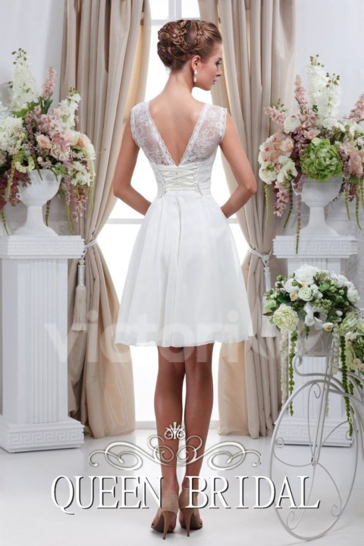 Simple Vestido de Boda Blanco Corto Vestido De Noiva Curto Renda