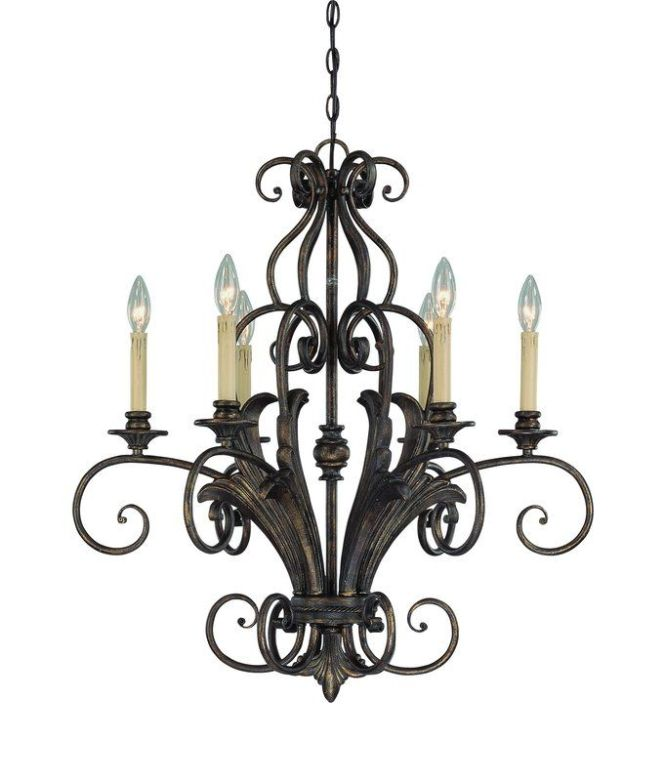 View The Jeremiah Lighting 25526 Feino Single Tier 6 Light Candle Style Chandelier 27 Inches