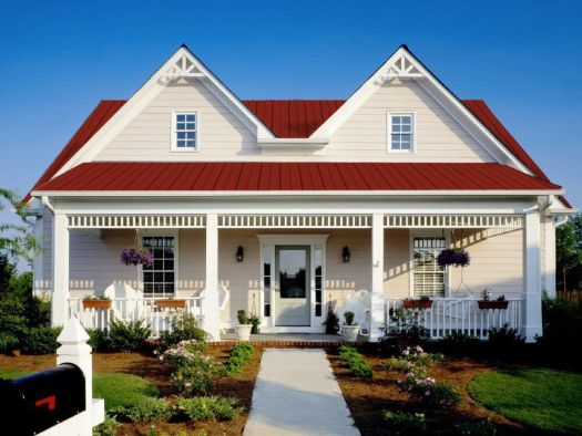 White With Red Metal Roof Exterior House