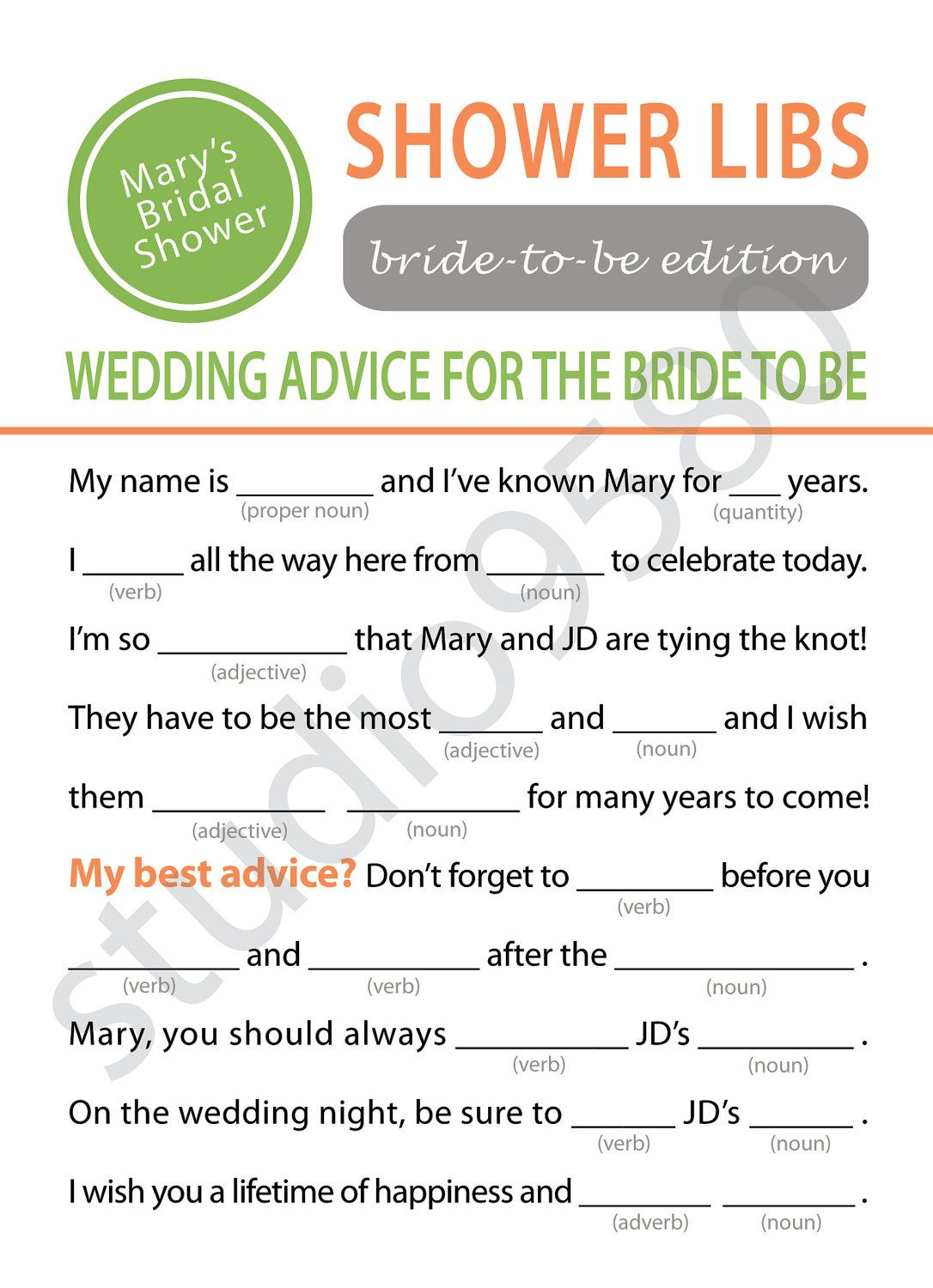 Printable Mad Libs Bridal Shower Game And Then Make The