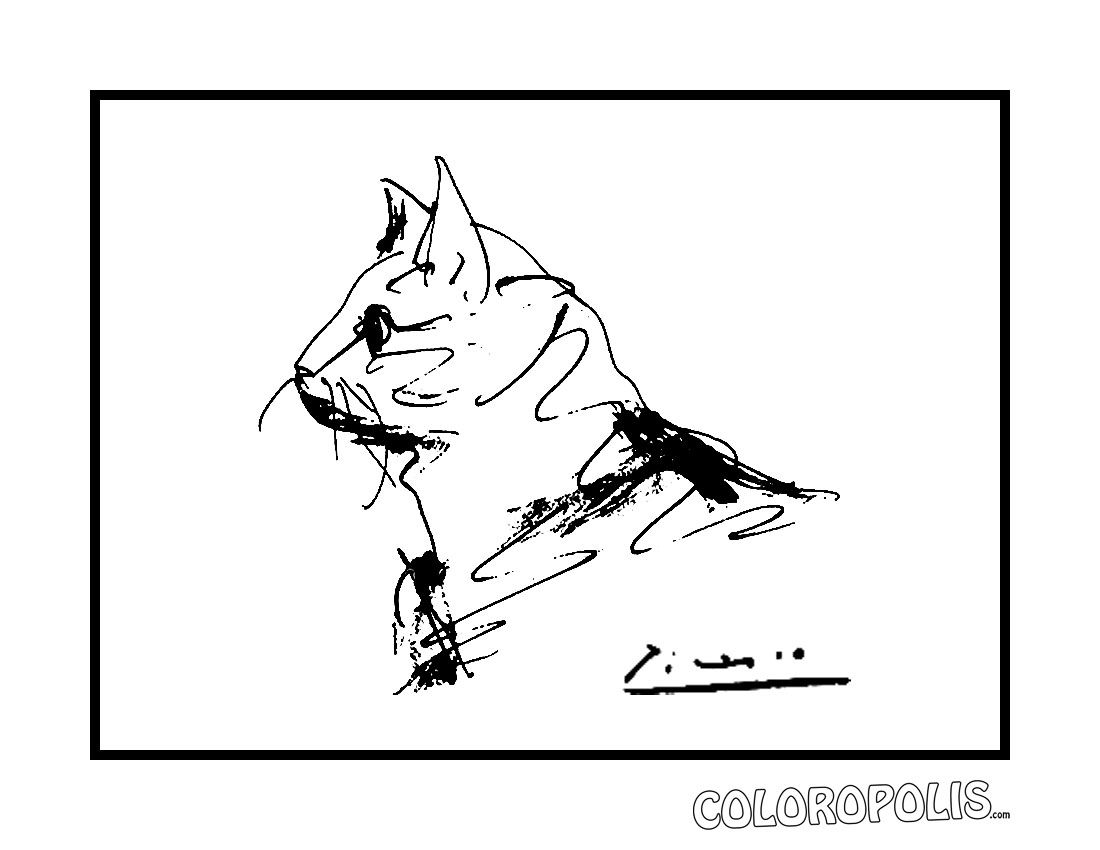 Picasso Animal Drawing Coloring Pages The Cat Pablo