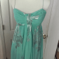 Seafoam green long gown with silver flowers long gowns eliza j
