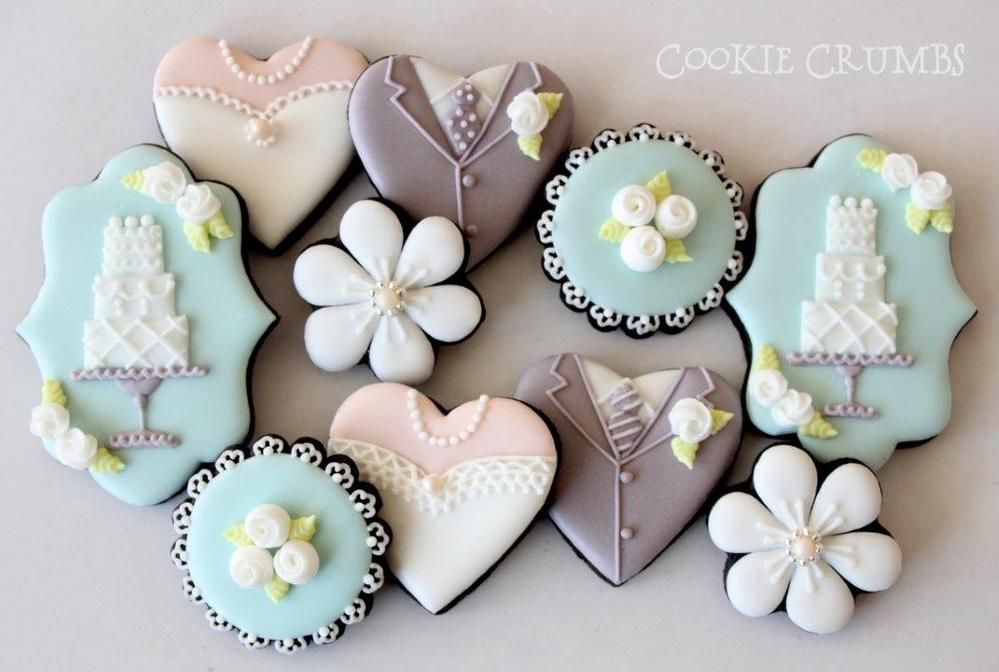Wedding Themed Chocolate Cookies With Royal Icing; Wedding