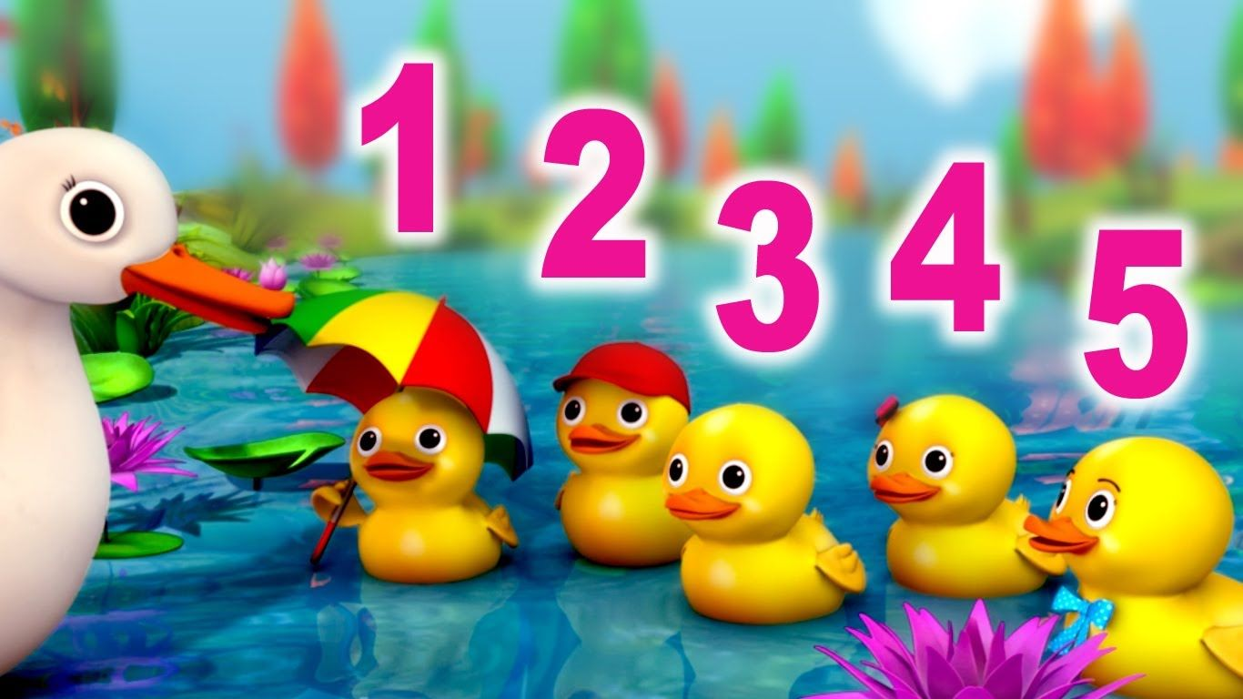 Number Song 5 Little Ducks Nursery Rhyme In Beautiful 3d
