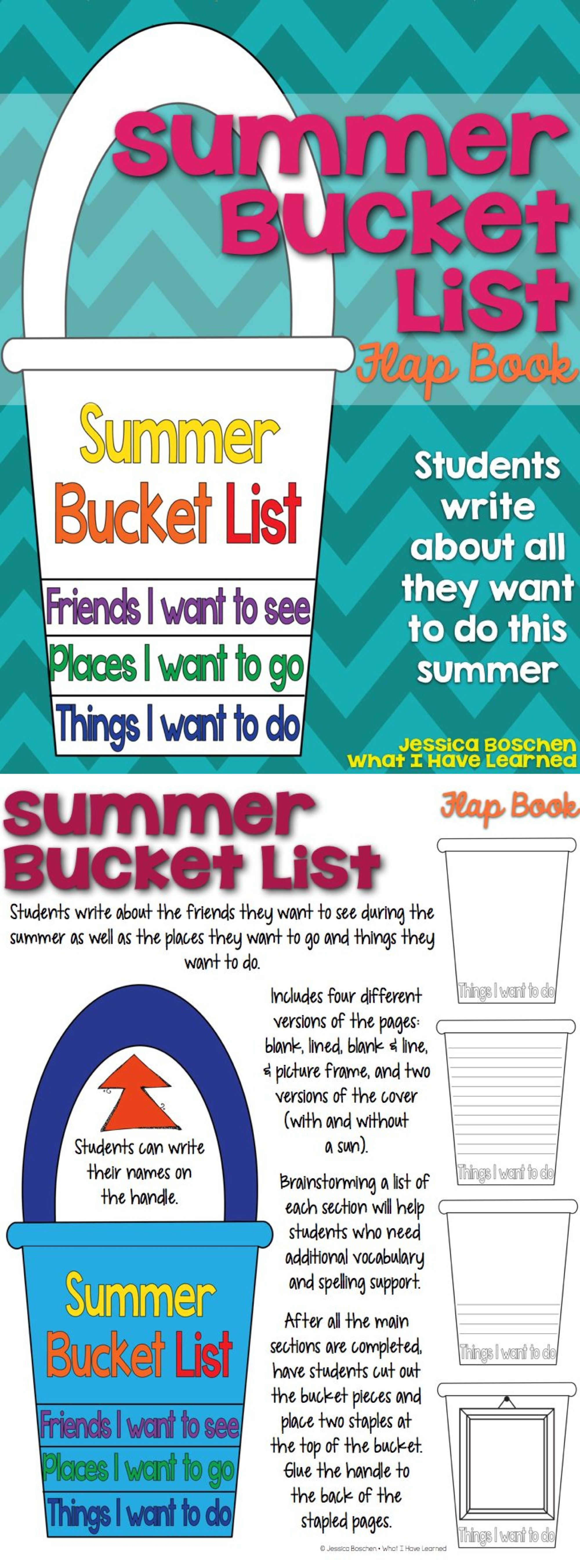 Summer Bucket List Flap Book End Of The Year Writing