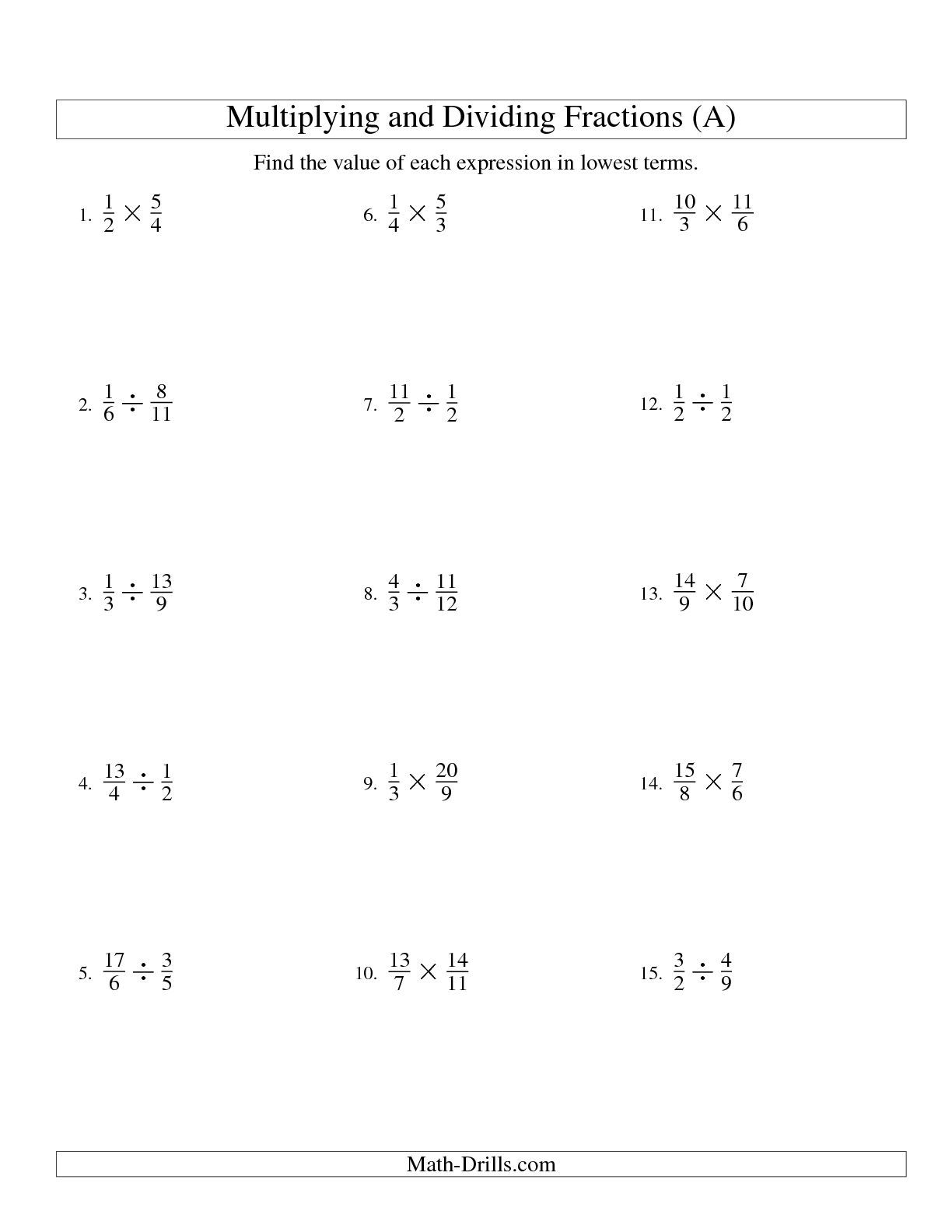 The Multiplying And Dividing Fractions All Math