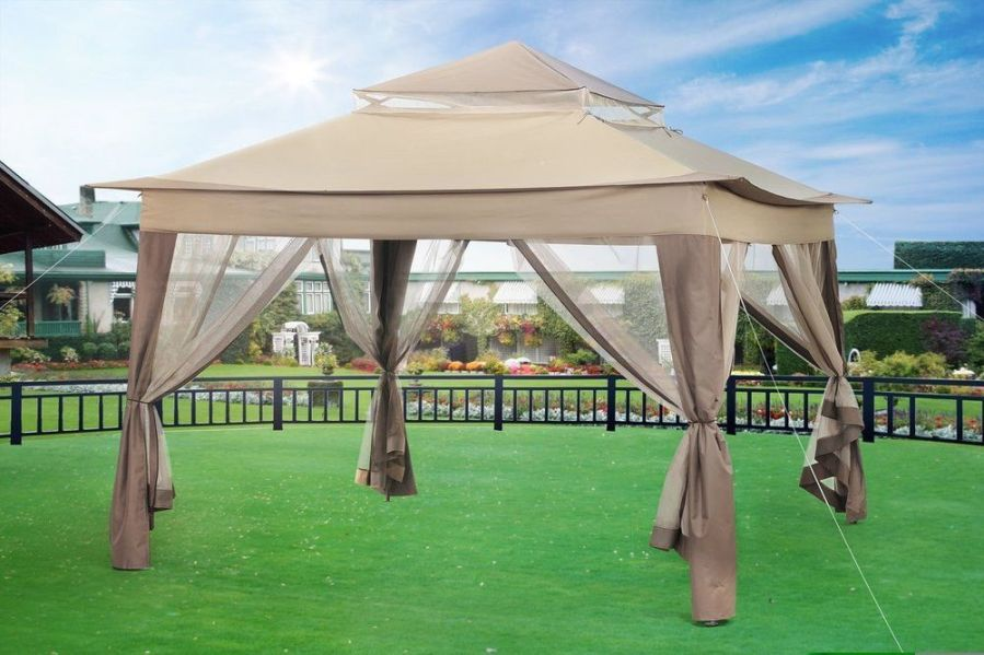 Gazebo For Patio Outdoor Bbq Party Tent 10  W x 10 D  Metal Portable     Gazebo For Patio Outdoor Bbq Party Tent 10  W x 10 D  Metal Portable Sun  Shade
