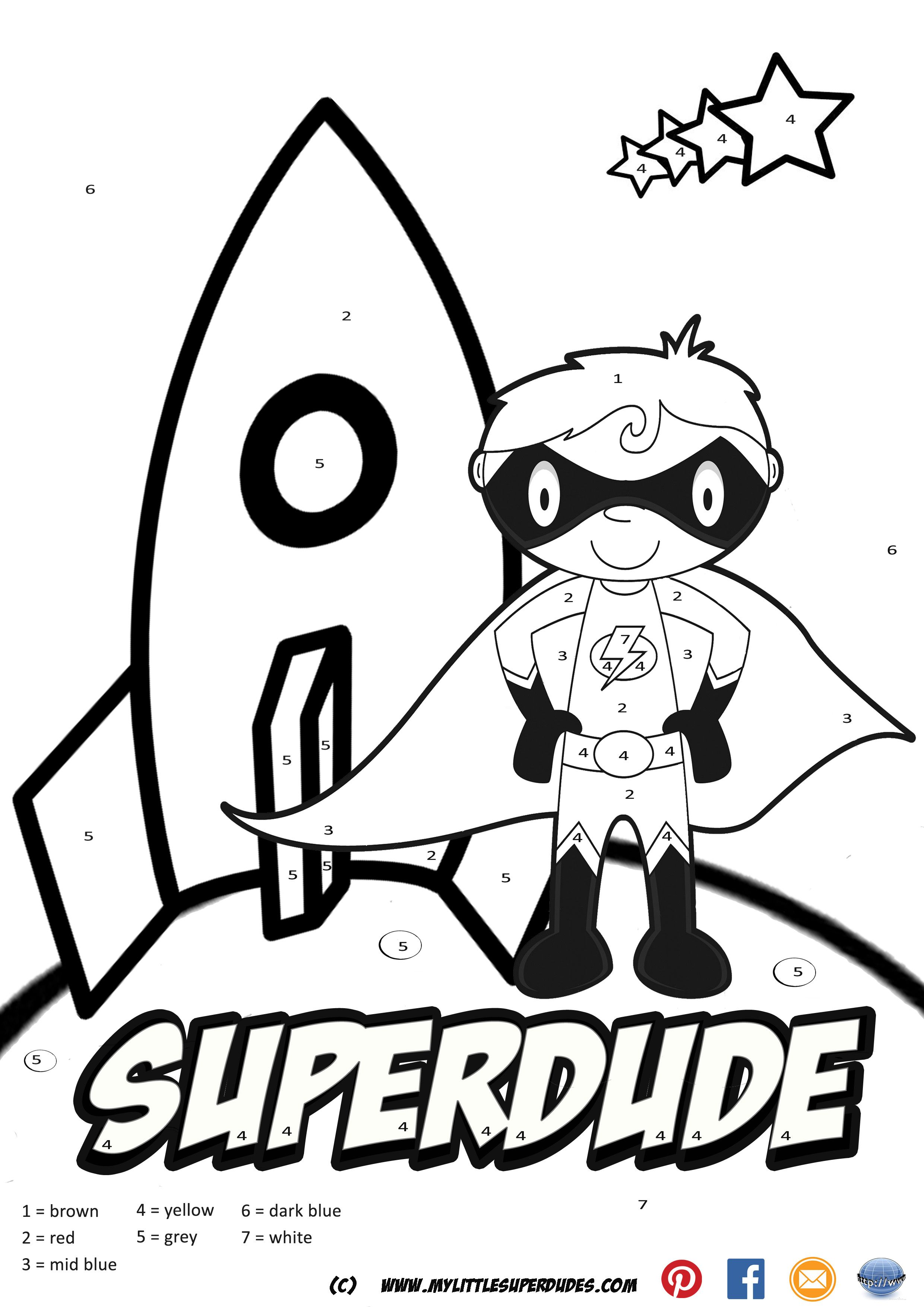 Superdude Color By Numbers Hand Created Color By Numbers