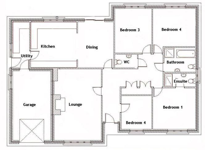 Split Bedroom House Plans For 1500 Sq Ft 4 Ebay