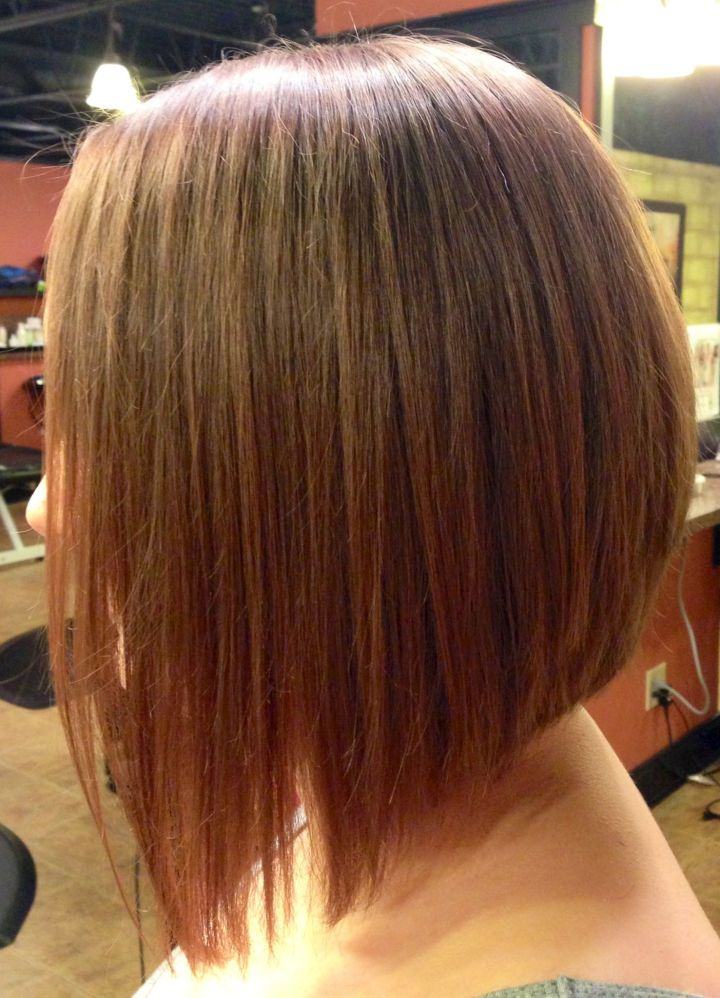 Long Inverted bob with a dramatic angle Minimal stacking in the