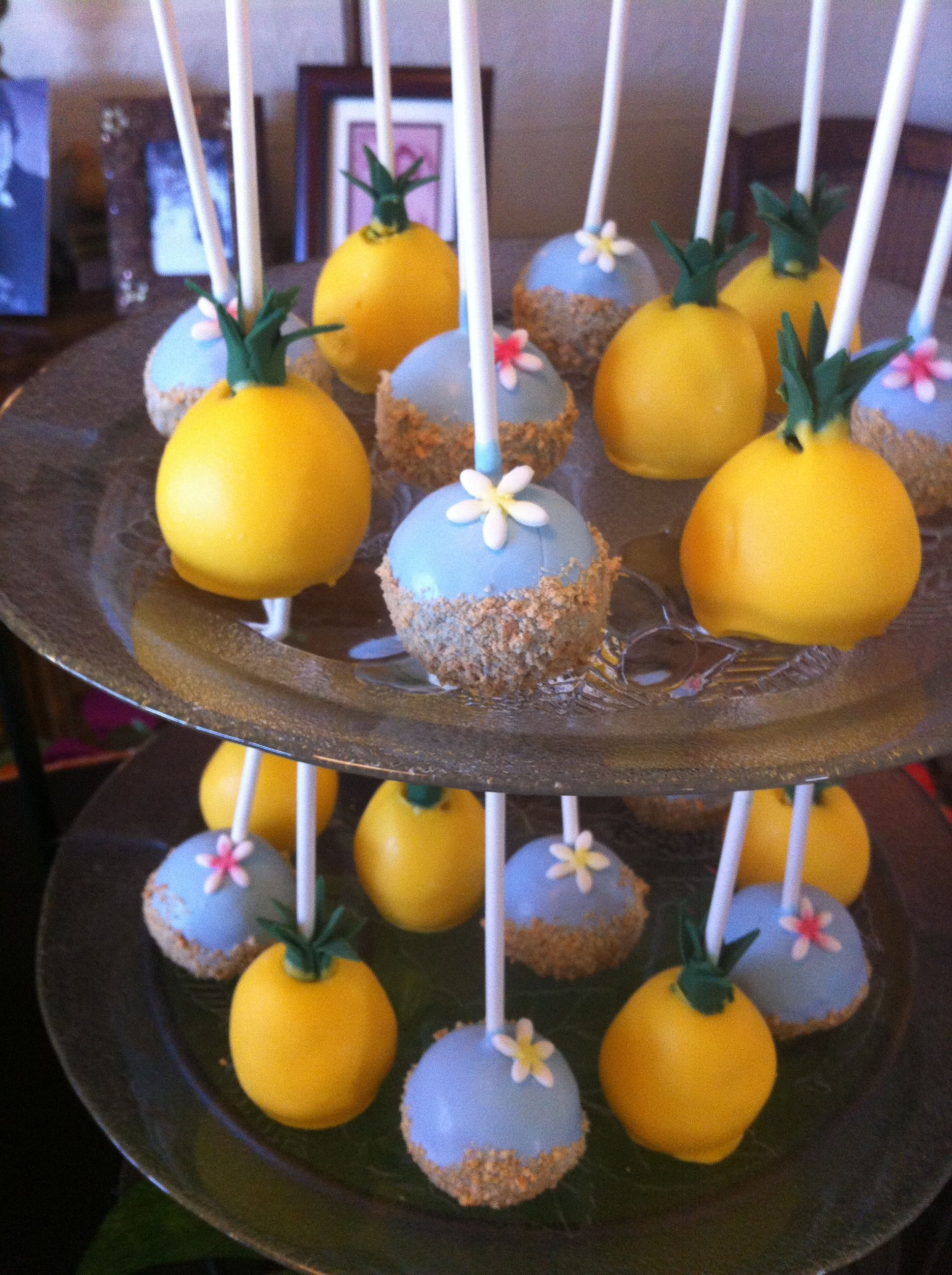 Pineapple Cakepops Hawaiian Luau Party Desserts