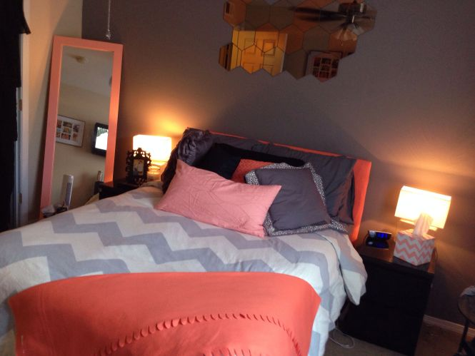 C Peach Grey Chevron Bedroom