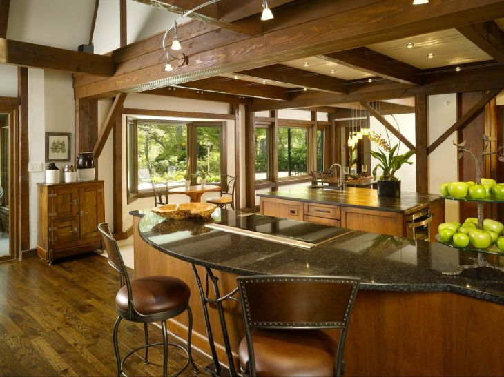 Lodge kitchen  view towards river and Dining Room Note Photos by