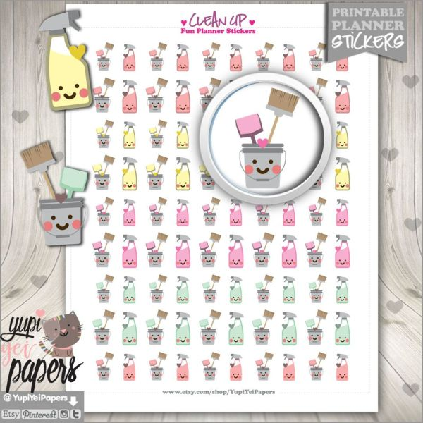 Clean Up Stickers, Planner Stickers, Housekeeping, Planner ...