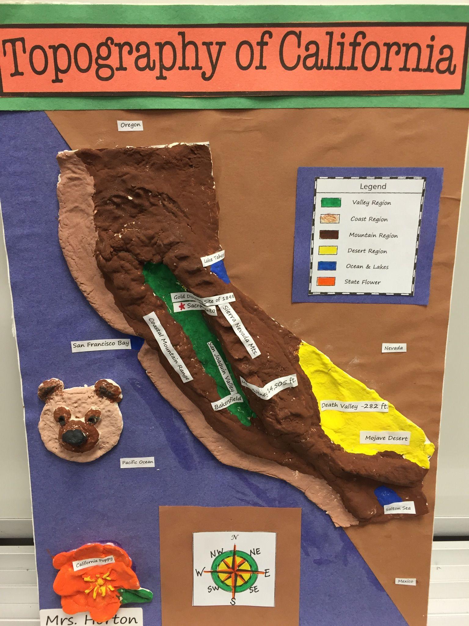 4th Grade California Regions Topography Map