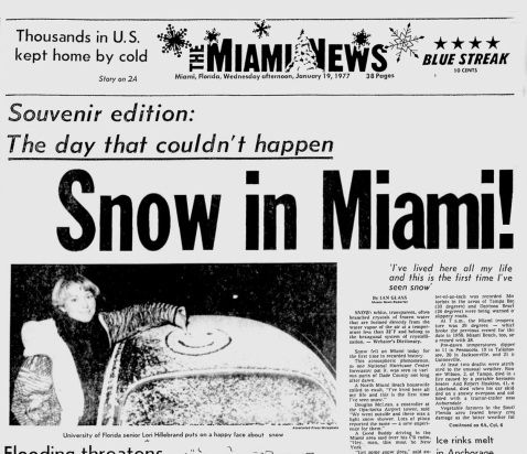 Image result for images of snow in florida january 19 1977
